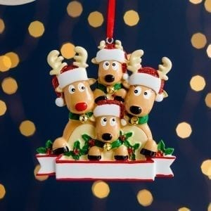 Personalised Christmas Reindeer Family Decoration