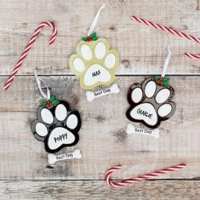 Personalised Dog Paw Print Christmas Decoration
