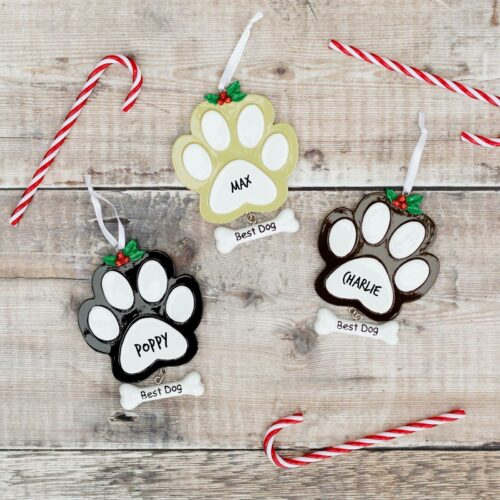 Personalised Dog Paw Print Christmas Decoration