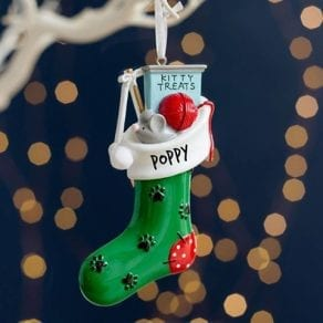 Personalised Cat Kitty Christmas Stocking Decoration