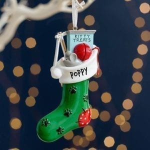 Personalised Cat Kitty Christmas Stocking Decoration