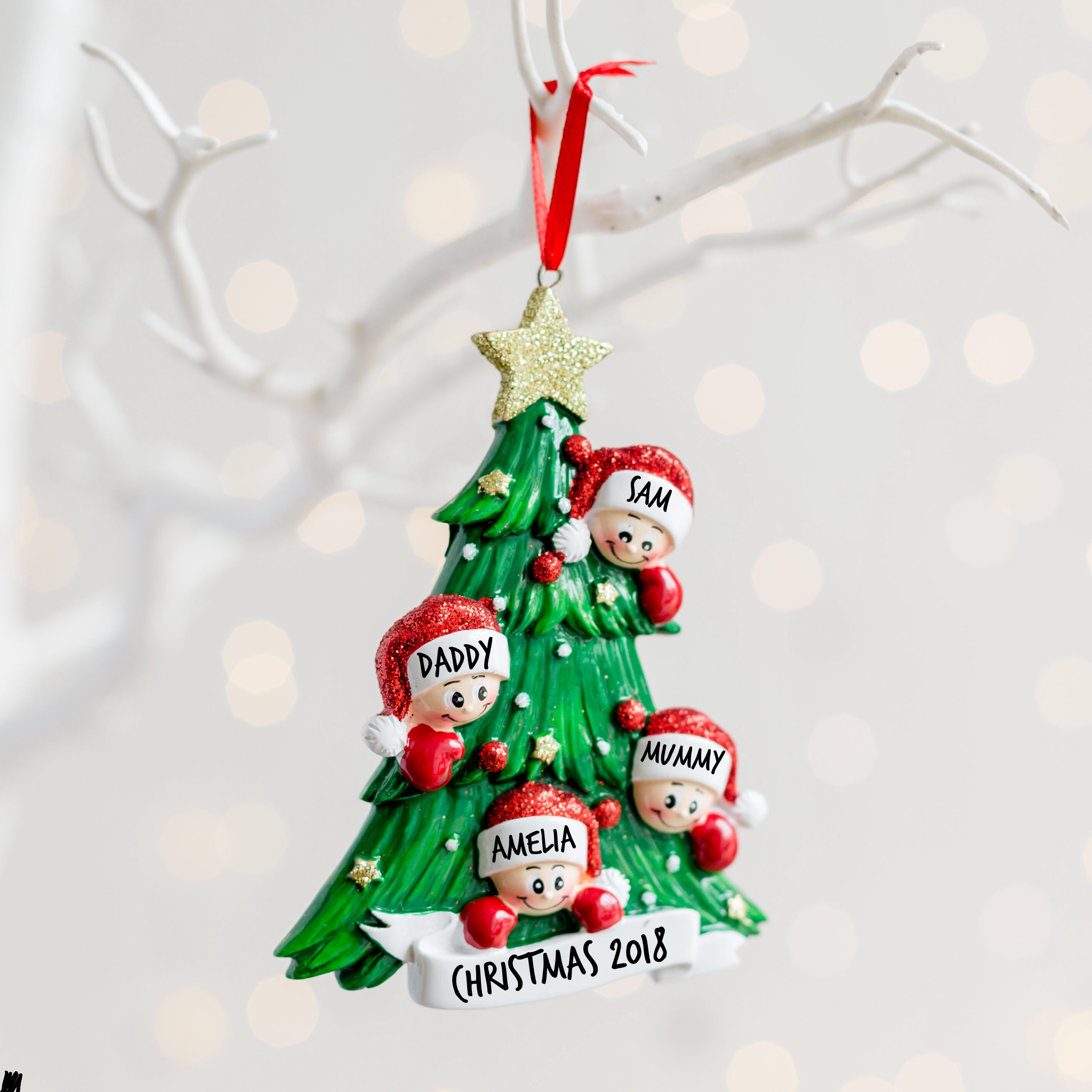 Personalised Christmas Tree Family Decoration | Love Unique Personal