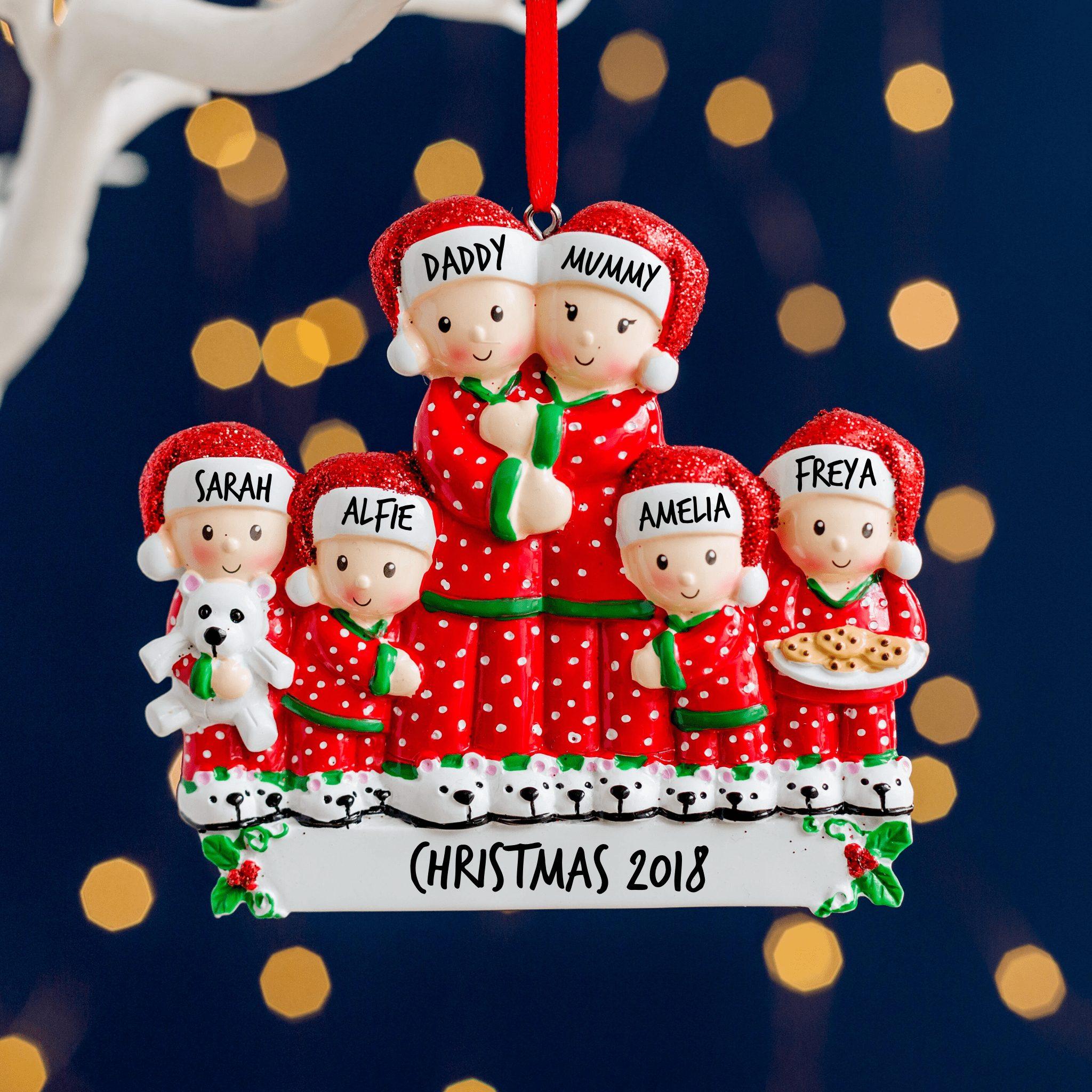 Personalised Pyjamas Family Christmas Decoration