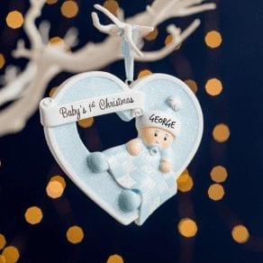 Personalised Blue Baby's First Christmas Hanging Tree Decoration