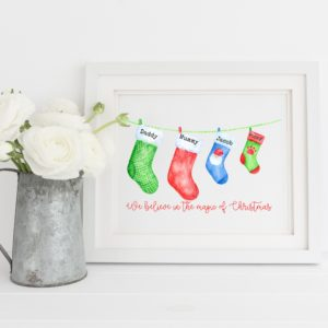 Christmas Stocking Personalised Family Print