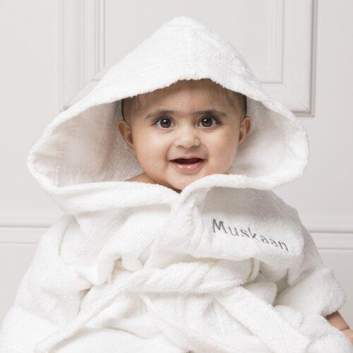 Personalised White Towelling Bathrobe