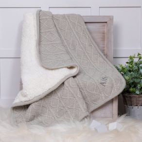 Zippy Personalised Sherpa Fleece Cable Baby Blanket