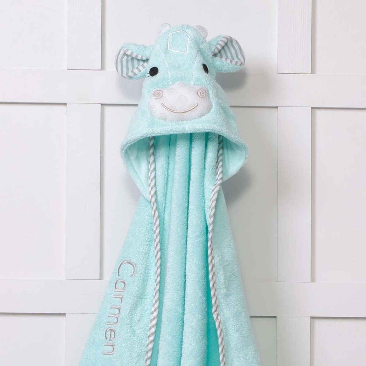 Personalised Zoocchini Aqua Green Jaime The Giraffe Hooded Baby Towel