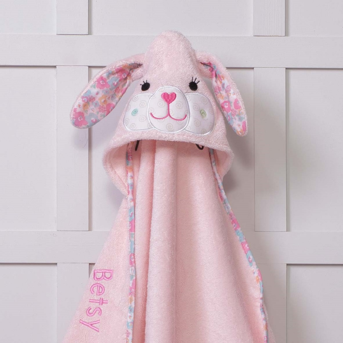 Personalised Zoocchini Pink Beatrice The Bunny Hooded Baby Towel
