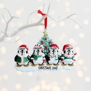 Personalised Penguin Family Christmas Decoration
