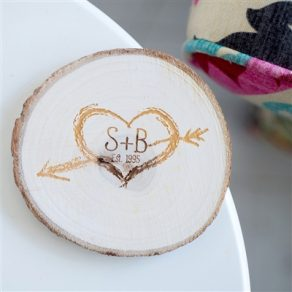 Personalised Initials Natural Wood Coaster