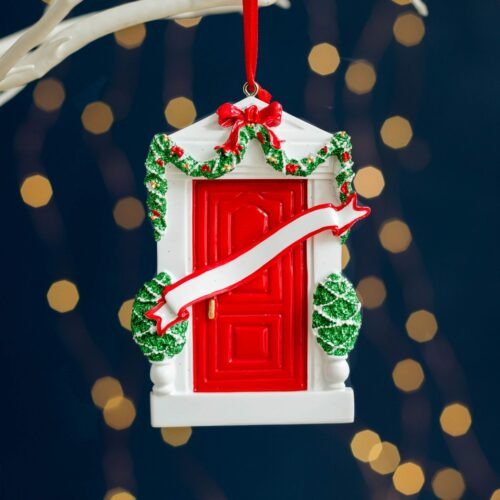 Personalised Home Red Door Christmas Decoration
