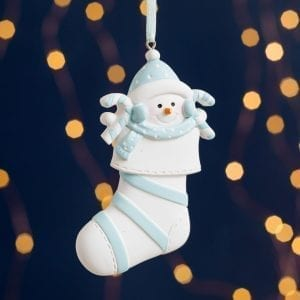 Personalised Baby's First Christmas Blue Stocking Decoration