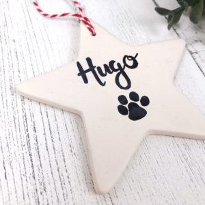 Personalised Pet Ceramic Star Bauble