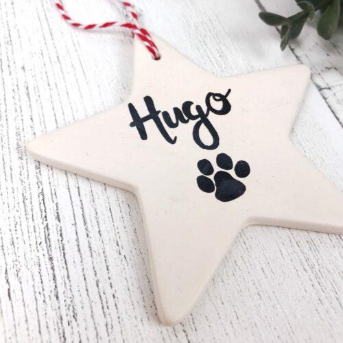 Personalised Pet Ceramic Star Bauble