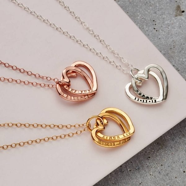 Personalised Interlinking Hearts Necklace