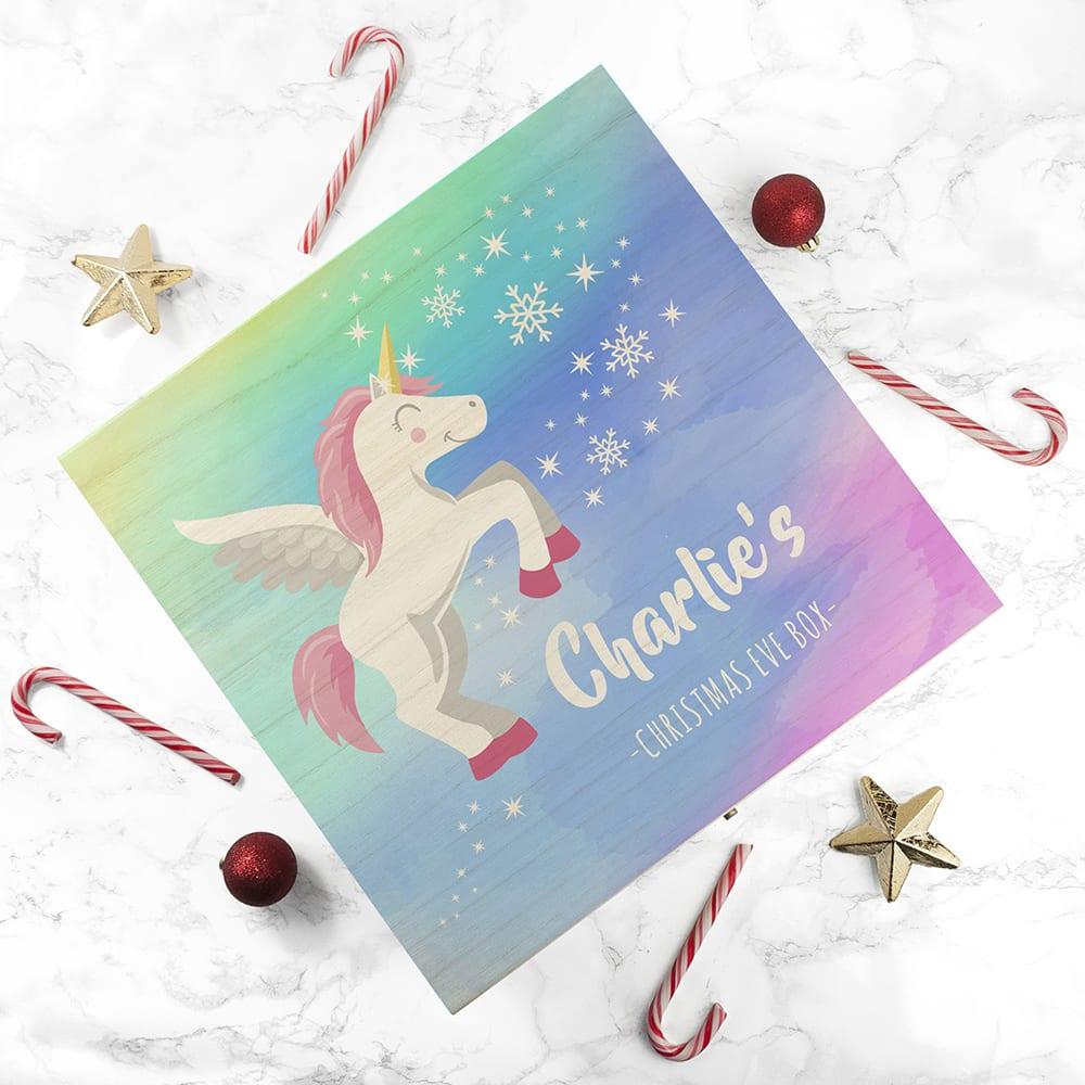 Personalised Colourful Baby Unicorn Christmas Eve Box