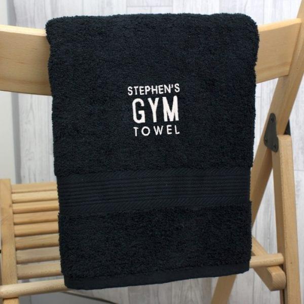 Personalised Black Gym Hand Towel