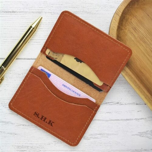 Personalised Initial Tan Leather Card Case