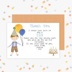 Personalised Birthday Balloon Thank You Cards