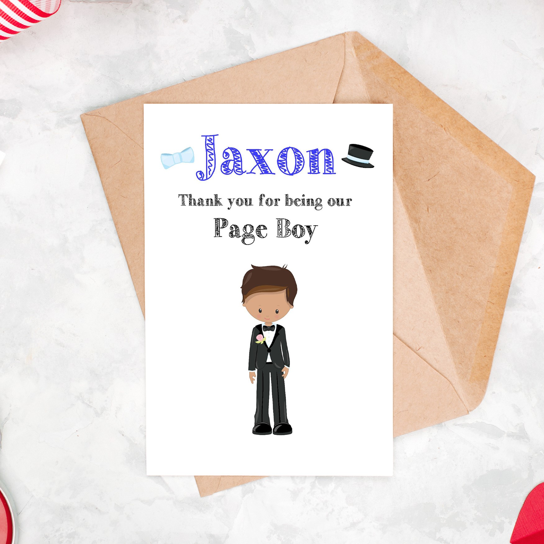 Thank You For Being our Page Boy Card