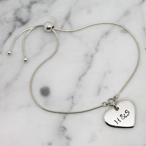 Personalised Small Heart Slider Bracelet