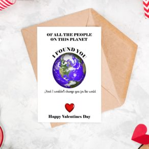 Planet I Found You Valentine's Card