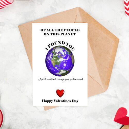 Planet I Found You Valentine's Card