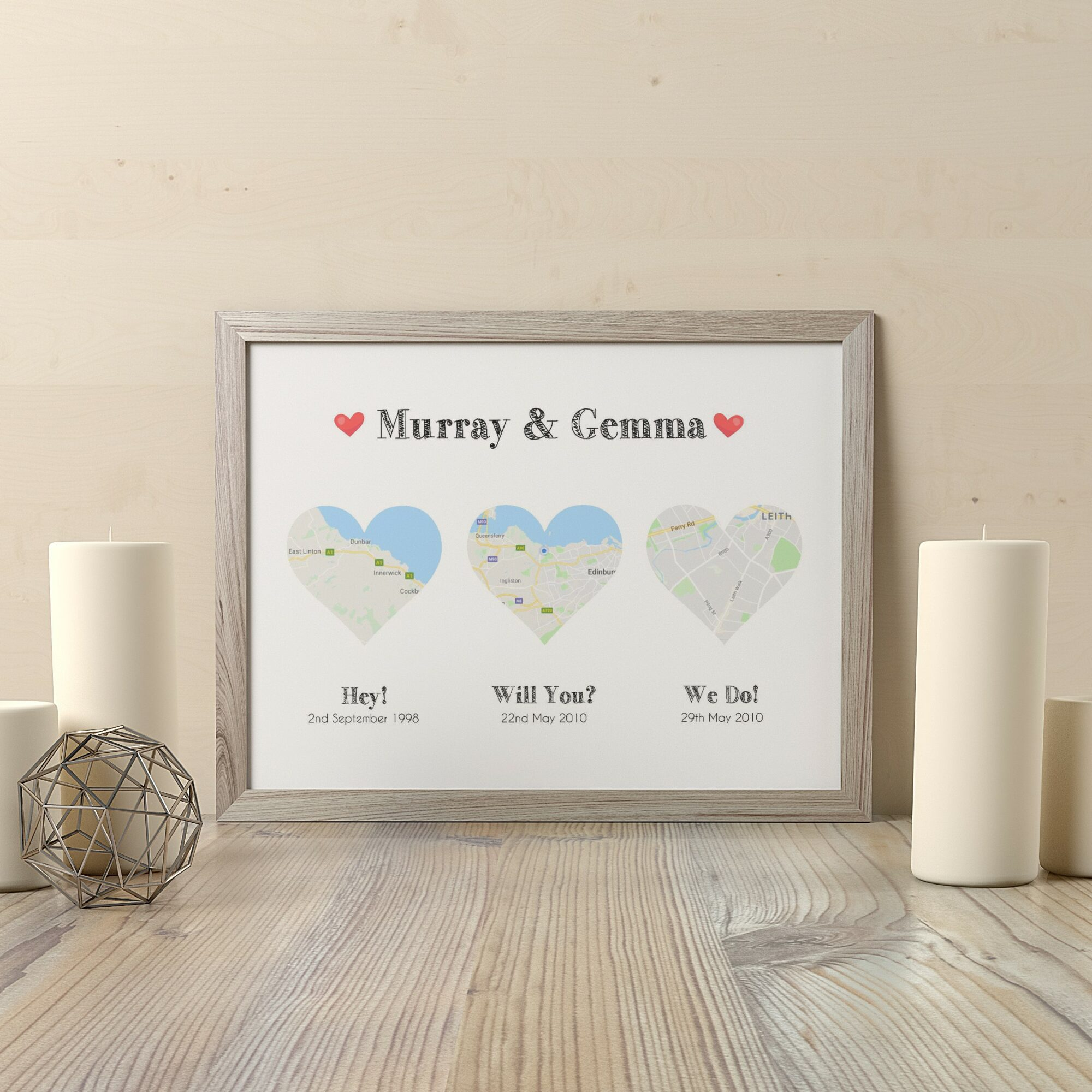 Personalised Map Print 3 Hearts