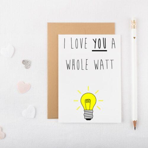Whole Watt Valentines Card