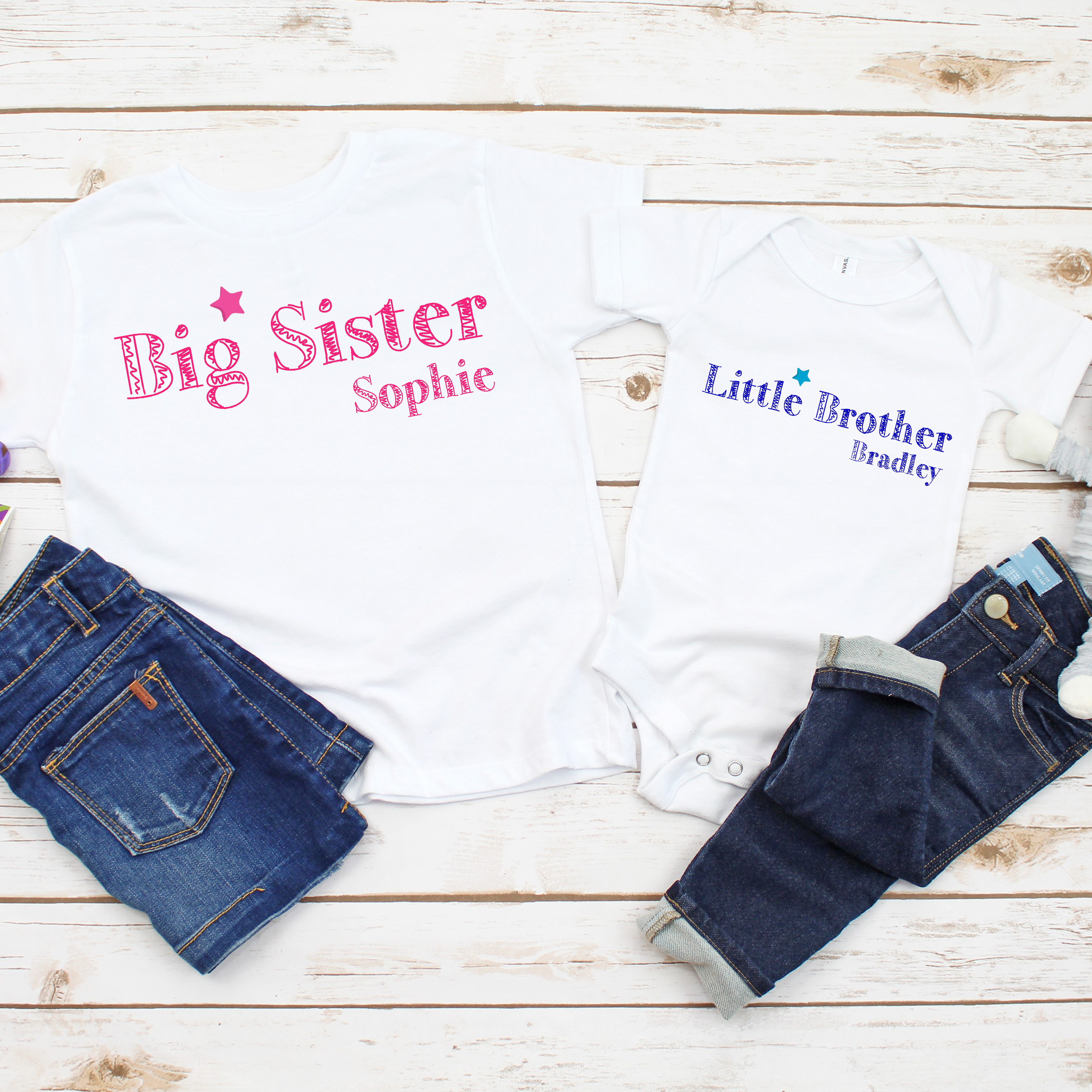Personalised Sister and Brother T-shirt and Baby Vest Set