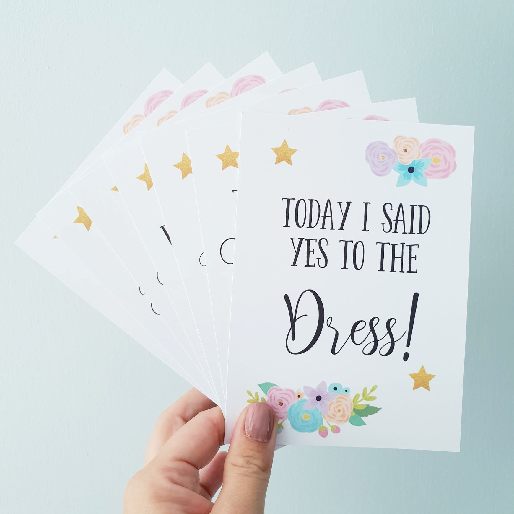 Set of 10 Personalised Wedding Milestone Cards