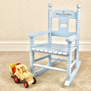 Engraved Blue Personalised Wooden Rocking Chair