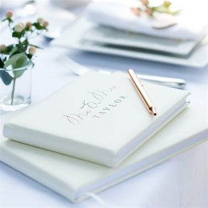 Personalised Ivory Leather Wedding Guest Book
