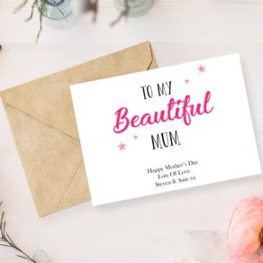 To My Beautiful Mum Personalised Card