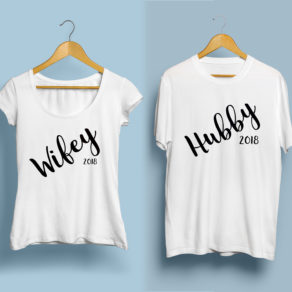 Personalised Husband and Wife Tshirt Set