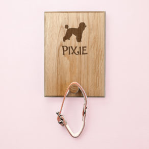 Personalised Engraved Wooden Dog Silhouette Lead Hook Peg
