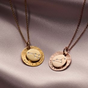 Personalised Zodiac & Hammered Disc Necklace
