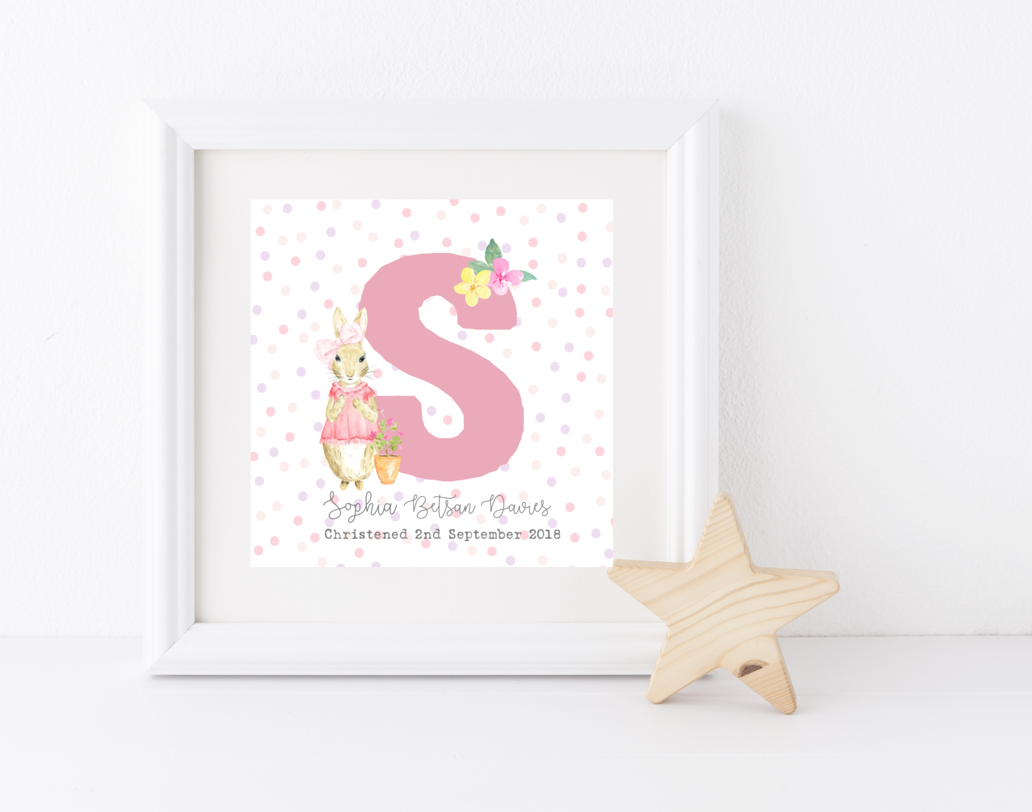 Personalised Girl Rabbit Initial Box Frame & Print