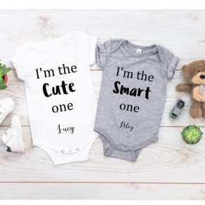 Personalised Twin Baby Vest Set