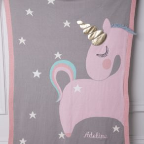 Bizzi Growin Pink Unicorn Personalised Baby Pram Blanket