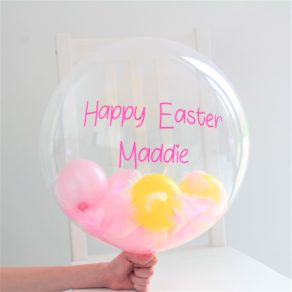 Easter Personalised Balloon with Mini Balloons & Feathers
