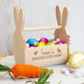 Personalised Easter Hunt Wooden Basket Crate