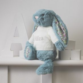 Aqua Blossom Bunny Personalised Soft Toy
