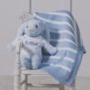 Blue Bashful Bunny & Ziggle Personalised Striped Baby Blanket Gift Set