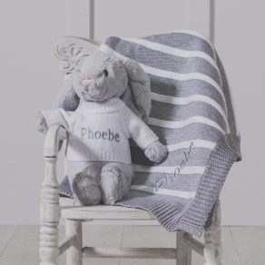 Personalised Grey Bashful Bunny & Ziggle Striped Baby Blanket Gift Set