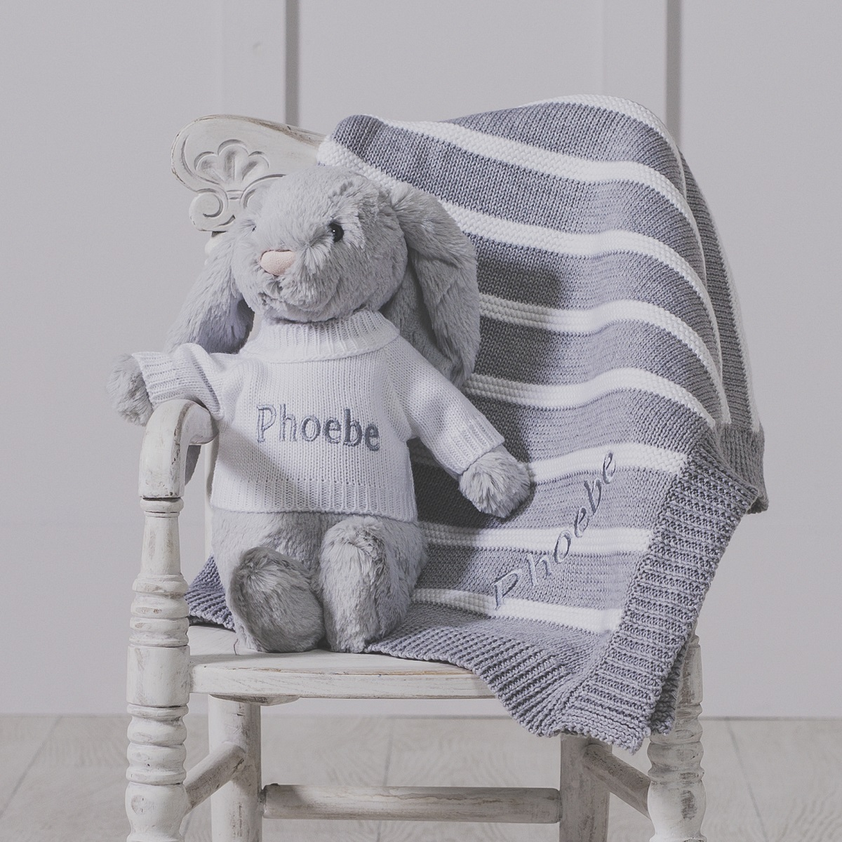 Personalised Grey Bashful Bunny & Ziggle Striped Baby Blanket Gift Set