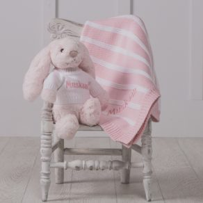 Pink Bashful Bunny & Ziggle Personalised Striped Baby Blanket Gift Set