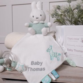 Miffy Mint & White Personalised Cuddle Cloth Comforter