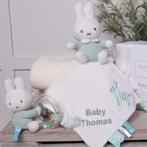 Personalised Miffy Mint Cuddle Cloth Comforter & Ring Rattle Gift Set